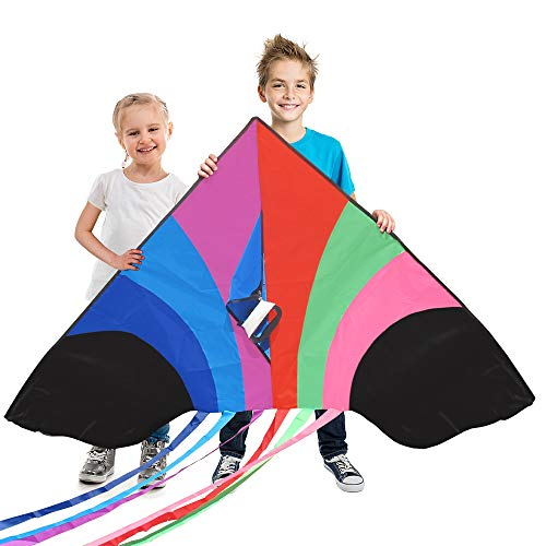 """Tomi Kite - Huge Rainbow Kite - Ideal for Kids & Adults - Easy to Launch in Stiff Wind Or Soft Breeze - 60"""" Wide - 100 Meter String - 6 Tails - Built to Last - Great for Family Fun"""