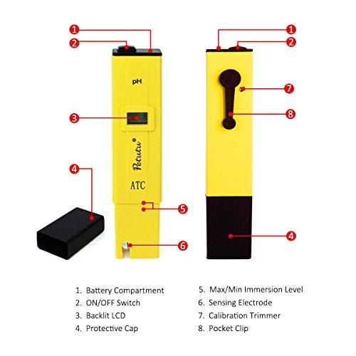 Digital PH Test Pen, PH Meter Water Tester, 0-14.0 pH Range, 0.1 pH Accuracy by Petutu (Image #2)