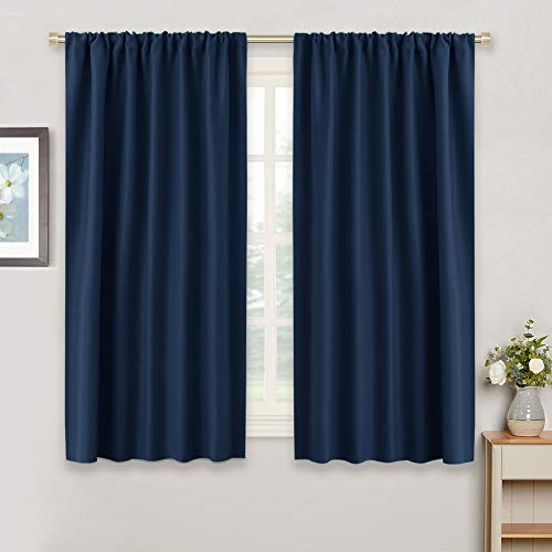 RYB HOME Farmhouse Curtains for Garden Sun Room, Blackout Curtain Shade Blind for Bedroom Home Office Family Room Cafe, 42 x 54 inch per Panel, Navy Blue, Set of 2 from RYB HOME