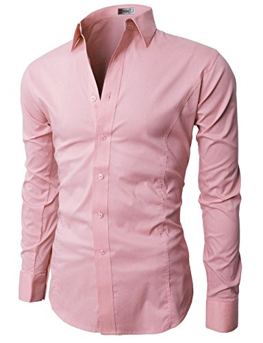 (H2H Mens Slim Fit Long Sleeve Dress Shirts PINK M (JASK14))