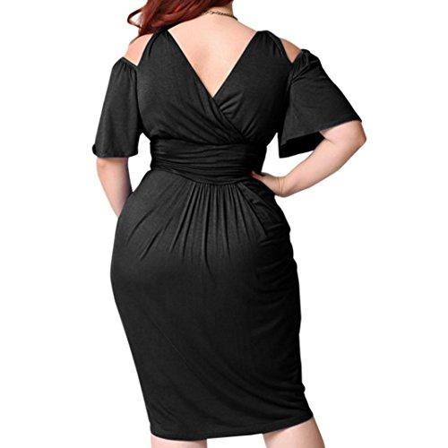 Di Vestito Size Senza Solido Spalla Sexy Increspato Di Donne Modo V Casuale Manica Colore Spalline Plus collo Nero Kanpola Corta Fredda YnzCxHgH7