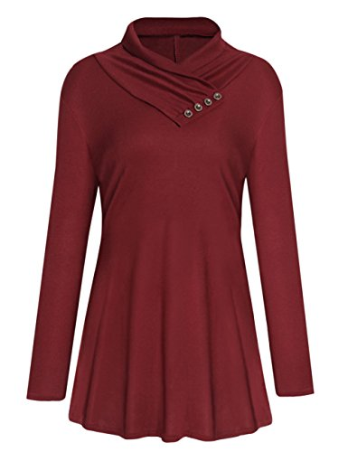 Button Cami (shermie Women's Long Sleeve Cowl Neck Tunic Casual Loose Fit Shirt Top With Button Wine M)