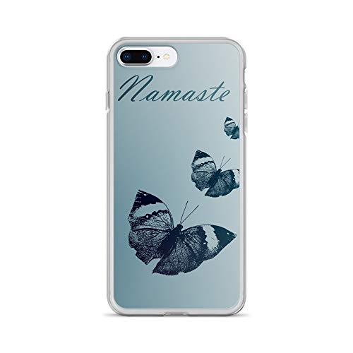 iPhone 7 Plus/8 Plus Case Anti-Scratch Creature Animal Transparent Cases Cover Three Blue Butterflies Inspirational Art with Namaste Animals Fauna Crystal Clear ()