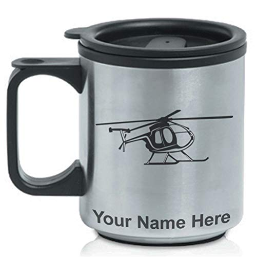 (Coffee Travel Mug, Helicopter 1, Personalized Engraving Included)