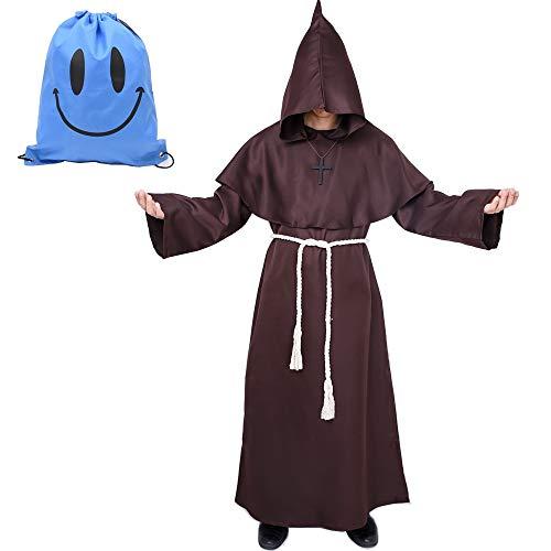 Mönch Robe Kostüm Mönch Priester Gewand Kostüm mit Kapuze Mittelalterliche Kapuze Herren Mönchskutte (XX-Large, Braun)