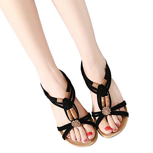 ea7bf5cd585e Etaclover Women s Open Toe Sandals Bohemian Beaded Slingback Woven Rope  Beach Shoes cheap