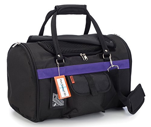 Pet Travel Carrier with Privacy Covers for Small Dogs, Cats and Other Small Animals - Airline Approved - Prefer Pets 312 Hideaway Duffle (Medium, Black Purple)
