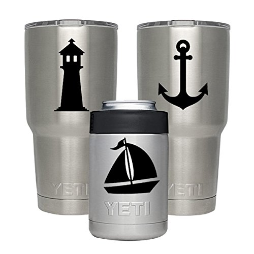 GameXcel Yeti Decal - Vinyl Tumbler Sticker - Personalized Protective Decals DIY for Yeti Tumbler 20 30 OZ Lowball Rambler Cups Laptop Pad Phone - 3 Pack- Anchor Boat (Personalized Lighthouse)