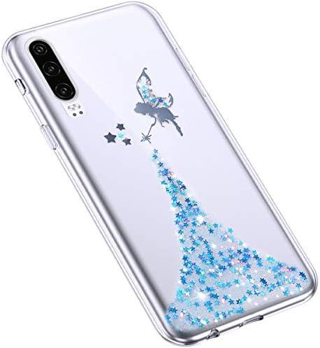 Uposao Kompatibel mit Huawei P30 Hülle Glänzend Glitzer Kristall Strass Diamant Sterne Handyhülle Transparent TPU Silikon Ultra Dünn Klar Schutzhülle Slim Crystal Clear Case,Blau