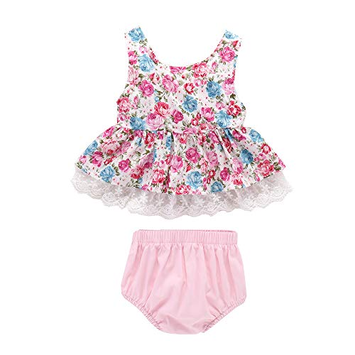 Newborn Infant Baby Girls' Outfits Floral Lace Ruffle Top + Shorts Pants Summer 2Pcs Clothes Set (12-18 Months, White & -