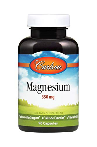 Carlson Magnesium 350 mg, Heart and Muscle Health, 90 Capsules