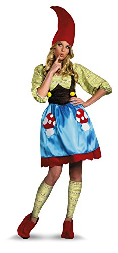 Disguise Women's Ms. Gnome Costume, Blue/Green/Red,