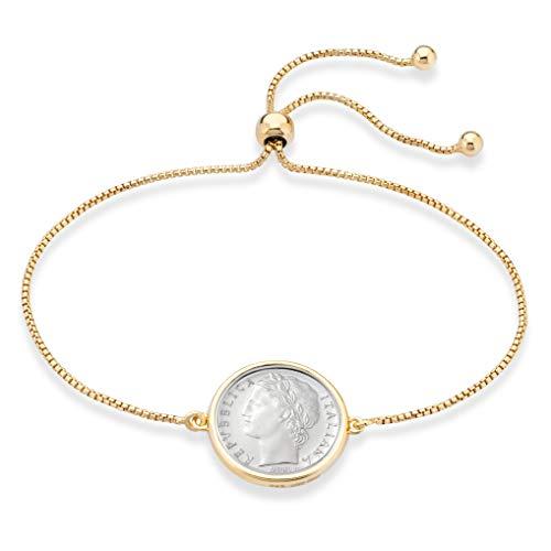 MiaBella 925 Sterling Silver Genuine Italian 100 Lira Coin Adjustable Bolo Chain Bracelet for Women (Yellow-Gold-Plated-Silver)