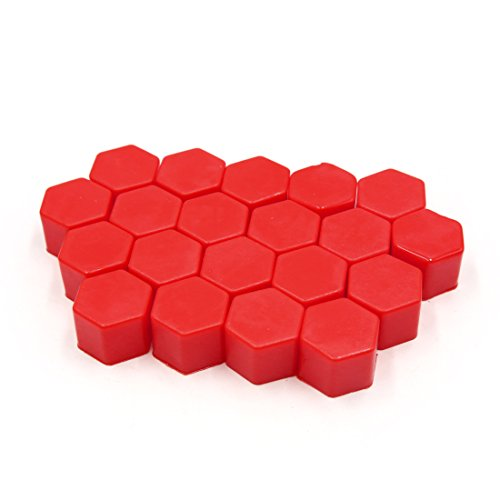uxcell 20Pcs 21mm Red Silicone Car Wheel Lug Nut Bolt Hub Covers Screw Dust Caps