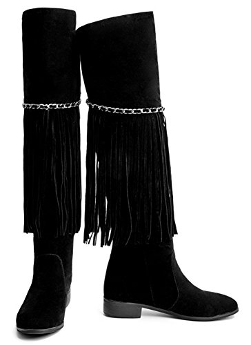 Booties Chunky Boots Heels Womens Low Over Riding Stylish IDIFU The With Black Tassels Knee qZtgvx