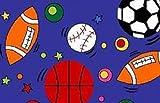 5 X 7 Kids Children Sports Theme In Blue Room Bedroom Sport Rug Non Skid