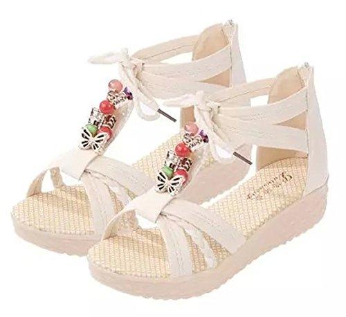 Minetom Mujer Verano Dulce Bohemia Peep Toe De La Hebilla Plana Sandalias Abalorios Zapatos Chancletas Zapatillas Playa Beige