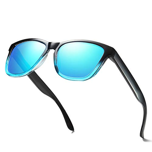 ELITERA Women Sunglasses Famous Lady Designer Gradient Colors Polarized Glasses UV400 E0717 (Black&Blue, ()