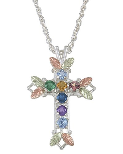 Journey Passion Cross Gemstone Pendant Necklace, Sterling Silver, 12k Green and Rose Black Hills Gold, 24