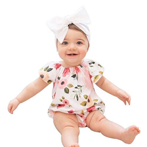 Price comparison product image Jumpsuit Clothes,Orangeskycn Newborn Kids Baby Girls Clothes Floral Outfits Set Lace Jumpsuit Romper Playsuit (18M, multicolor)