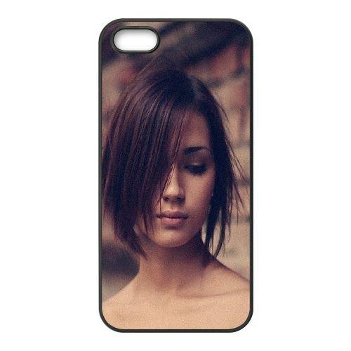 Brunette Face Hair coque iPhone 4 4S cellulaire cas coque de téléphone cas téléphone cellulaire noir couvercle EEEXLKNBC23881