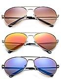 Newbee Fashion - Kyra Kids Popular Aviator Flash/Mirrored Lead Free Fashion Aviator Kids Sunglasses with Spring Hinges Girls Boys