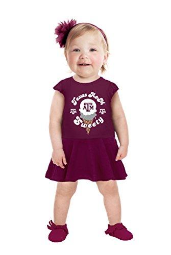 Cheekie Peach NCAA Texas A&M Aggies Girls Infant Short Sleeve Full Skirt Dress, 6-12 Months, (Aggie Girl)