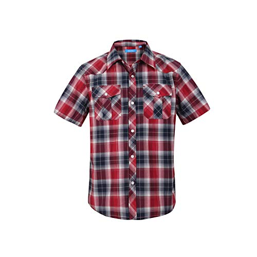 Boy's Casual Short Sleeve Snap Plaid Button Down Shirt (#24 Red & Black, 7)