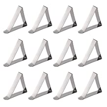 Table Cloth Clips,12PCS Adjustable Hard Stainless Steel Metal Table Covers Clip Tablecloth Tablecover Tablecloths Triangle Clamps for Home Party Wedding Banquet Outdoor Picnic Camping Anti Wind(12)