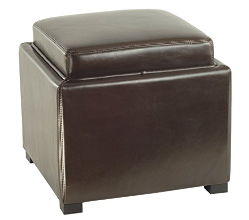 Safavieh Hudson Collection Kaylee Leather Single Tray Square Storage Ottoman, Brown