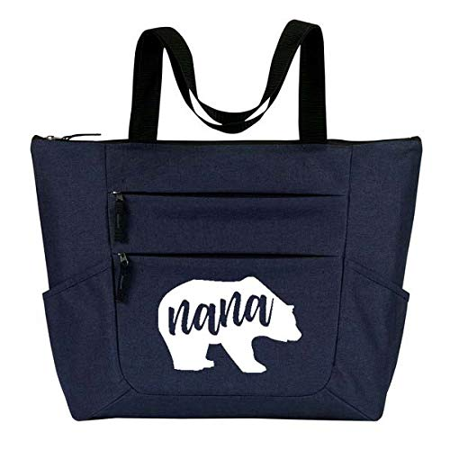 Grandma Tote Bag for Women - Large, Durable Zippered Totes with Pockets - Perfect Gift for Grandma, Nana, Grandmothers (Nana Bear Blue)