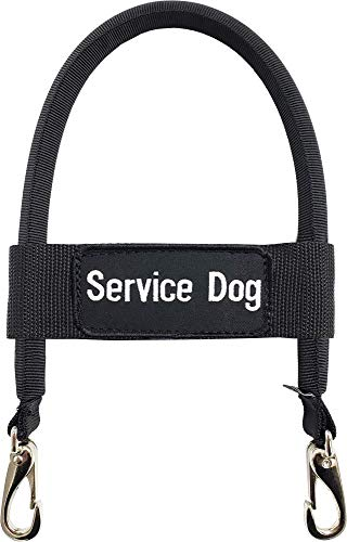 "Activedogs Nylon Clip-on Bridge Handle 12"" Black for Service Dog Vest & Harnesses, Heavy Duty Metal Clips w/Removable Service Dog ID Band"