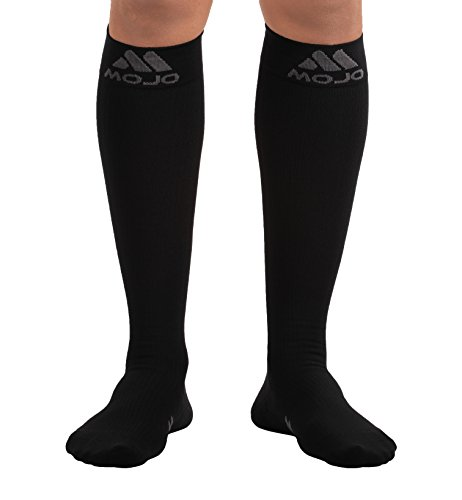 Mojo Compression Socks - Comfortable Coolmax Material for Recovery & Performance. Medical Support Socks - Firm Support - Compression stockings for women & men (Black, 2XL)
