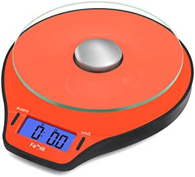 Famili FM206OB Digital Kitchen Food Scale 11lb/5kg Electronic Cooking Scale, Orange
