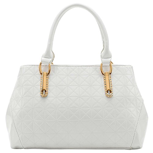 FASH Quilted Textured Pattern Office Tote Style Top Handle Handbag, White