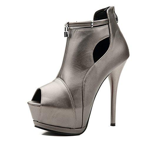fereshte Women's Peep-Toe Stiletto High Heels Sandals Platform Pumps Metal Gray Label Size 39-245mm - US 7.5-8