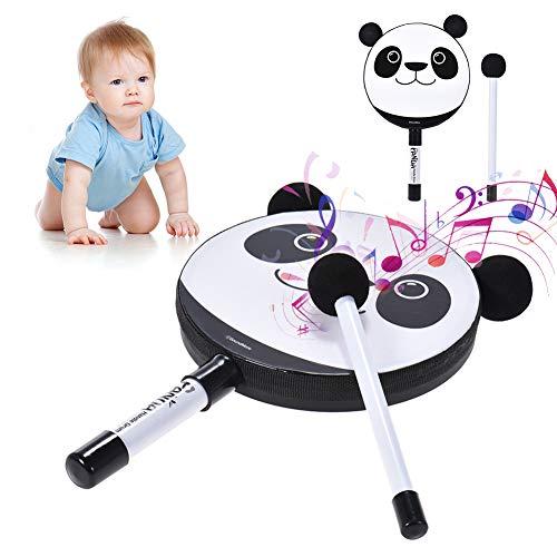 (sJIPIIIk552 Cartoon Panda Handheld Tambourine Drum Mallet Percussion Instrument Kids Toy)