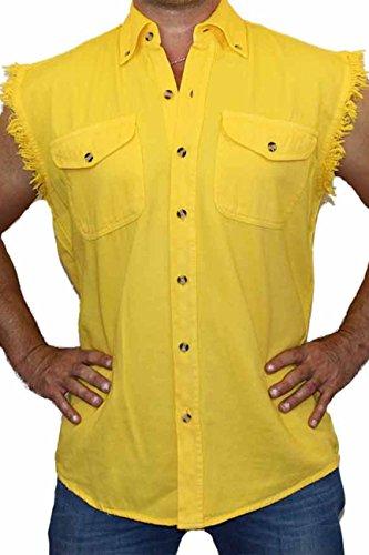 YELLOW Basic Plain Sleeveless Denim Biker Shirt (Denim Biker Shirt)