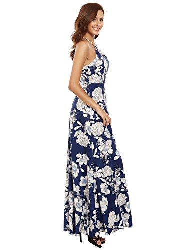 3a33ab42361 Floerns Women s Sleeveless Halter Neck Vintage Floral Print Maxi Dress