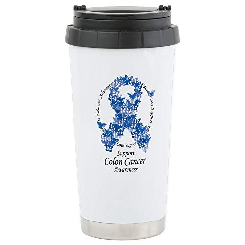 CafePress Colon-Cancer-Butterfly-Ribbon Stainless Steel Travel Mug, Insulated 16 oz. Coffee Tumbler ()