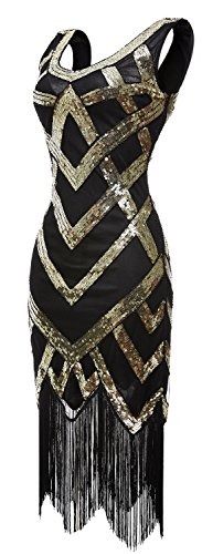 [eforpretty Women's 1920s V Neck Sequined Beaded Embellishment Gatsby Flapper Dress(Gold,L)] (Gold Flapper Dress)