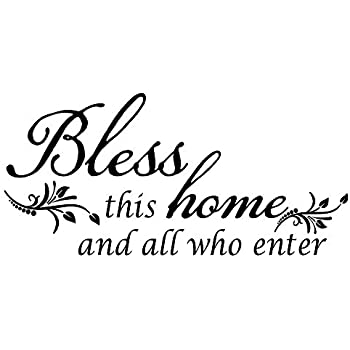 ZSSZ Bless This Home and All who Enter - Vinyl Wall Decal Entryway Living Room Décor Art Letters Quotes Stencil