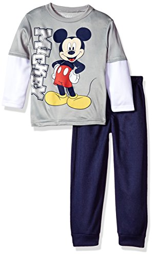 Disney Toddler Boys' Mickey Mouse 2-Piece Long-Sleeve T-Shirt and Pant Set, Gray, (Mickey Mouse Clothes For Toddler Boy)