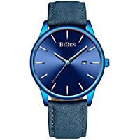 Men's Minimalist Watch Ultra-Thin Quartz Analog Date Wrist Watch with Blue Leather Band