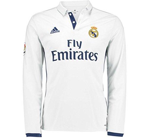 adidas 2016-2017 Real Madrid Home Long Sleeve Football Soccer T-Shirt Jersey (Kids)