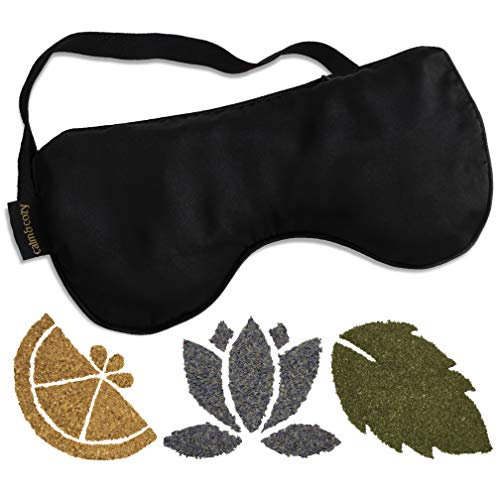 (Calm & Cozy Premium Eye Pillow | Weighted with Flaxseed & Includes Packets of Lavender, Mint, and Lemon-Each Infused with Essential Oil | For Sleep, Yoga, Relaxation | 100% Silk Mask)