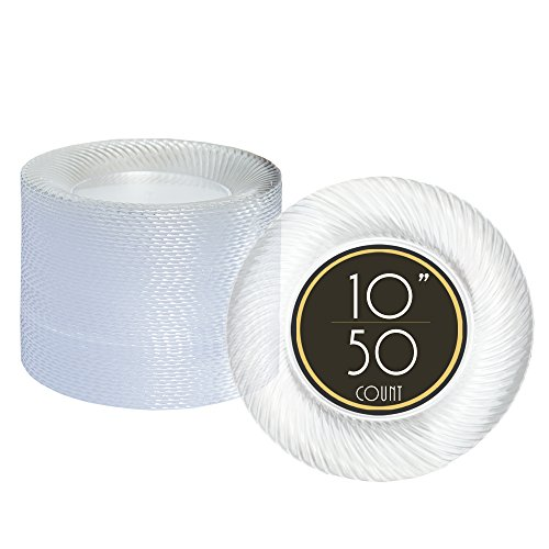 50 Premium Clear Plastic Plates for Dinner Party or Wedding