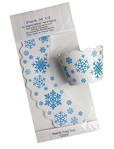 12 x Blue Snowflake Cupcake wrappers cake wraps decoration Simply Topps Ltd