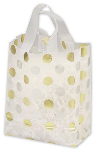 - EGP Frosted Patterned Flex Loop Shoppers, 250 Count, 8 x 4 x 10 (Gold & Silver Dots)