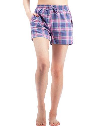 WEWINK CUKOO Women Pajama Shorts Cotton Sleep Shorts Plaid Lounge Shorts with Pockets